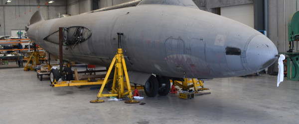Fuselage of Canberra WT346 in the technical workshop being prepared for transportation. Air Force Museum of New Zealand.
